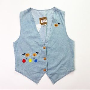 Vintage Blue Jean Denim Vest Halloween 90s Pumpkin